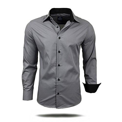 Herren Hemd Hemden Business Hochzeit Freizeit Slim Fit B�gelleicht S M L XL XXL, Gr��e:M;Farbe:Grau