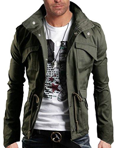 WSLCN Herren modern Freizeit Fr�hling Herbst Jacke �bergangsjacke Slim fit Gr�n DE M (Asiatisch 2XL)