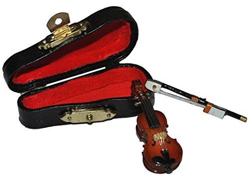 3 tlg. Set Violine mit Kasten + Bogen - Holz Miniatur Ma�stab 1:12 - Geige Puppenhaus - Musikinstrument Musik Instrument Streichinstrument