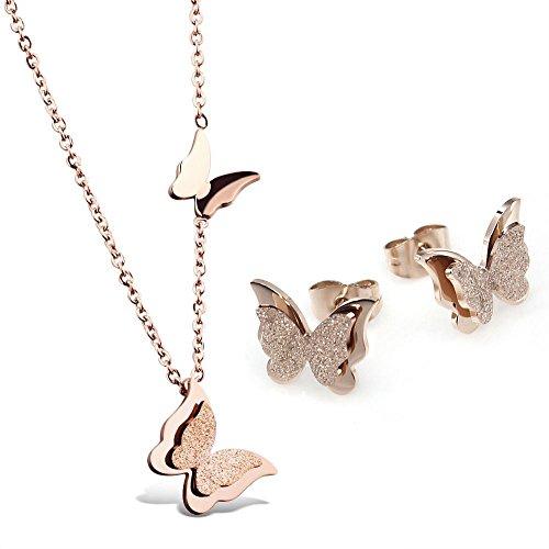 "Kim Johanson Edelstahl Damen Schmuckset ""Schmetterling"" Halskette mit Anh�nger & Ohrringe in Ros�gold inkl. Geschenkverpackung"