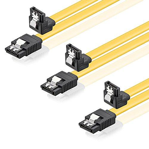 SET - 3x deleyCON [0,5m] S-ATA 3 Kabel - PREMIUM SATA 3 HDD / SSD Datenkabel mit Clip - 1x Stecker gerade zu 1x Stecker 90� - �bertragungsraten bis zu 6 GBit/s - flexibles PREMIUM S-ATA 3 Kabel - schnelle und sichere Daten�bertragung - passgenaue, stabile Stecker mit Verriegelung - abw�rtskompatibel - L�nge: 50cm / Farbe: Gelb