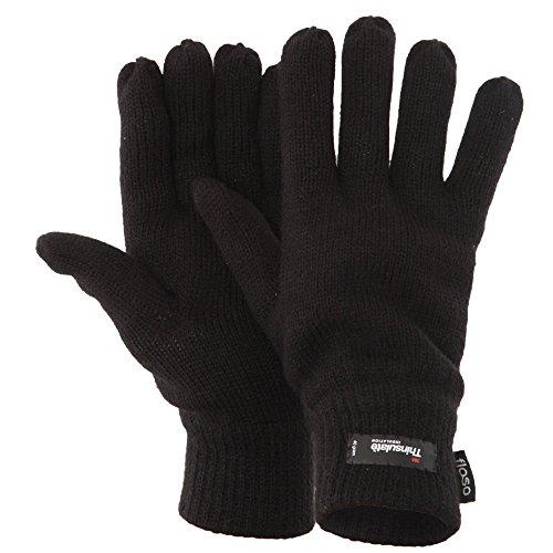 FLOSO� Herren Thermo Strick-Handschuhe Thinsulate (Einheitsgr��e) (Schwarz)