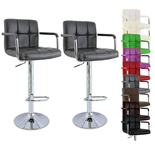 WOLTU BH16 Serie Design Barhocker mit Armlehne , 2er Set , stufenlose H�henverstellung , verchromter Stahl , Antirutschgummi , pflegeleichter Kunstleder , gut gepolsterte Sitzfl�che (Grau)