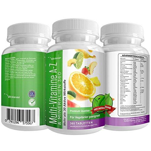 Multivitamin A-Z - 360 Tabletten - 32 Vitamine & Mineralien - 360 Tage Versorgung - T�glich nur 1 Tablette - Mulitvitamine - Vitamin C, Eisen, Vitamin E, Zink, Vitamin B3, Niacin, Magnesium, Vitamin B5, Vitamin D3, OPC, Traubenkernextrakt, Glutamin, Vitamin B6, Alpha-Lipons�ure, Vitamin B1, Vitamin B2, Vitamin B3, Vitamin D3, Vitamin A, Fols�ure, Kupfer, Vitamin B12, Selen, Biotin ...