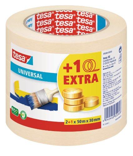 tesa Malerband f�r einfache Malerarbeiten, 3er Pack, 50m x 30mm