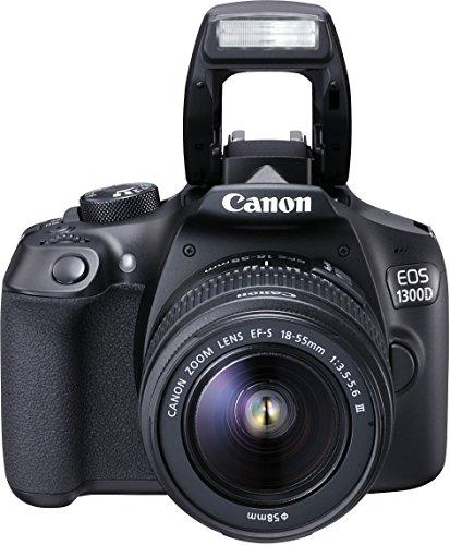 Canon EOS 1300D Digitale Spiegelreflexkamera (18 Megapixel, 7,6 cm (3 Zoll), APS-C CMOS-Sensor, WLAN mit NFC, Full-HD ) Kit mit EF-S 18-55 mm und EF 50 mm STM Objektiv schwarz