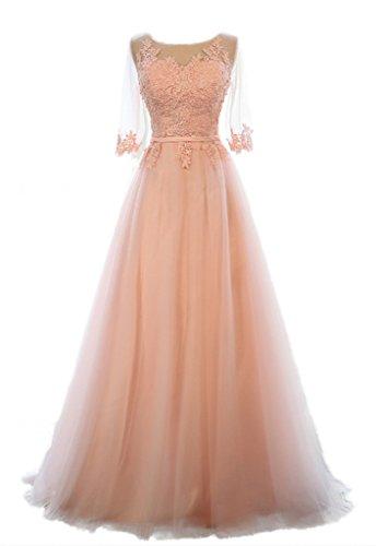 Eudolah Damen Abendkleider Braujungfernkleider Tolles Bunt Maxikleid Satin Chiffon Pink Gr.44