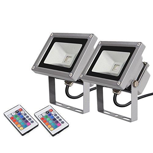 2 � amzdeal LED RGB 16 Farben Fluter Au�en Strahler Scheinwerfer - mit Memory Funktion & Fernbedienung - 10W