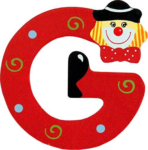 Holzbuchstaben und Zahlen- Clowns - mit Klebepad in zuf�lliger Farbe - Rimini Baustoffe� - Ideal f�r T�ren und Schr�nke (Buchstabe G)