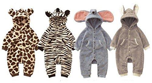Baby Strampler Kuschel-Tiere | Babystrampler langarm | Jogginganzug, Gr��e:12-18 Monate;Modell:Zebra