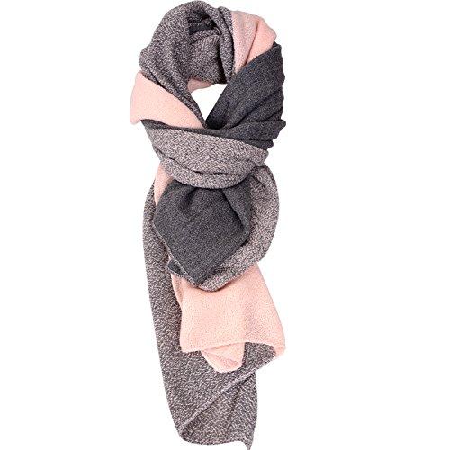 Damen der Frauen Cashmere Gef�llt Herbst/Winter Splicing Design Schal Wraps Stola Halst�cher (rosa)