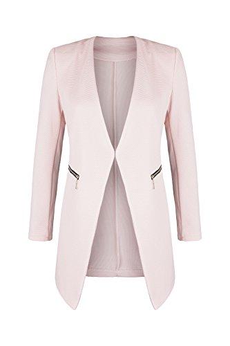 AO Long Blazer kragenlos mit Zipper rosa Gr. L