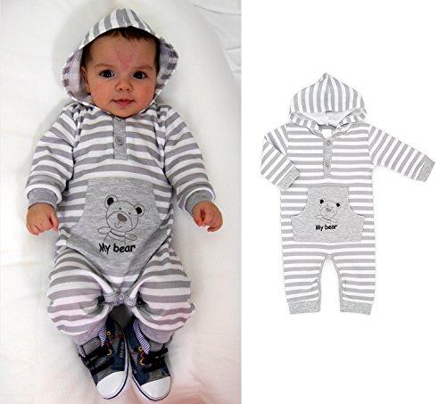 Baby Strampler mit Kapuze grau Gr.62-86 (68)