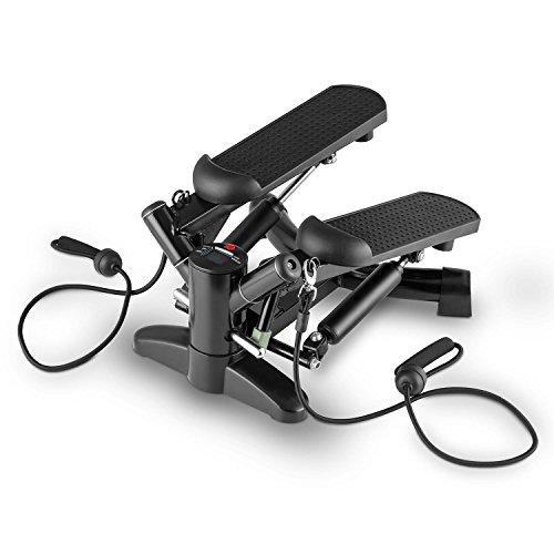 Klarfit Powersteps Twist-Stepper mit Expander-B�ndern und Trainingscomputer (5 Programme, bis zu 100kg belastbar) schwarz