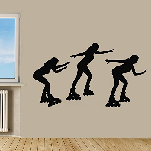 Roller Skate Wand Aufkleber Frau Skaten Drei Sport M�dchen Vinyl Aufkleber Aufkleber Gym Home Decor Vinyl Kunst Wandbild Kinderzimmer Decor