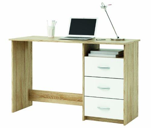 Demeyere 101000 Schreibtisch, 1 Fach und 3 Schubladen, sonoma eiche mit Struktur, wei�
