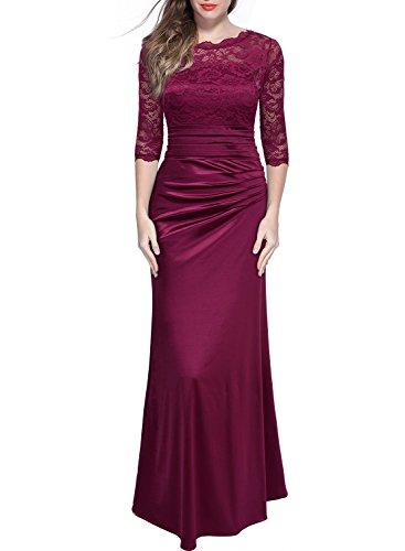 Miusol Damen Elegant Abendkleid Rundhals Weinrote Spitzen Brautjungfer Cocktailkleid Vintage Cocktailkleid Langes Kleid Weinrot Gr.M