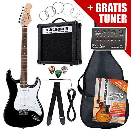 Rocktile ST-Pack Komplettset E-Gitarre Schwarz (Verst�rker, Stimmger�t, Tremolo, Tasche, Kabel, Gurt, Plecs, Ersatzsaiten und Schule mit CD/DVD)
