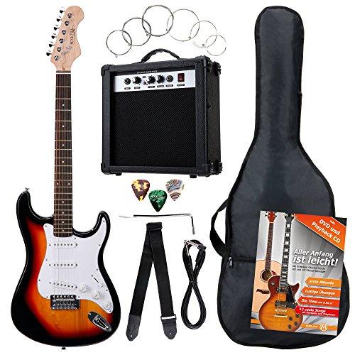 Rocktile Banger's Pack Komplettset E-Gitarre Sunburst (Verst�rker, Tremolo, Tasche, Kabel, Gurt, Plecs, Ersatzsaiten und Schule mit CD/DVD)