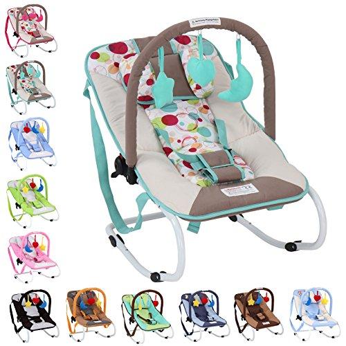 Infantastic Babywippe mit 3-Punkt-Sicherheitssystem (Farbwahl) mit stabilem Metallrohr-Gestell inklusive Spielbogen und 3 Spielzeuge (Minze)