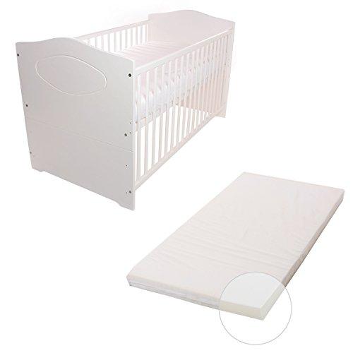 Babyblume Babybett Kinderbett 140x70 Umbaubar - Kuba in verschiedenen Varianten (Weiss inkl. Matratze BASIC)