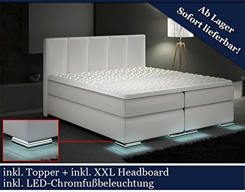 XXL Boxspringbett Designer Boxspring Bett LED (Wei�, 180x200)