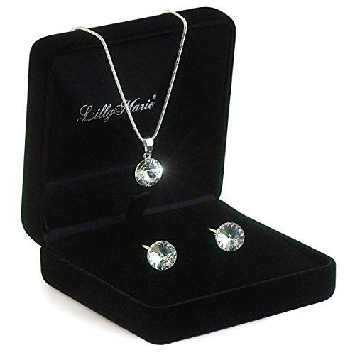 Silberschmuckset aus 925 Silber mit original Swarovski� Elements, klar, 12 mm, mit Schmucketui, ideal als Geschenk f�r Frau oder Freundin