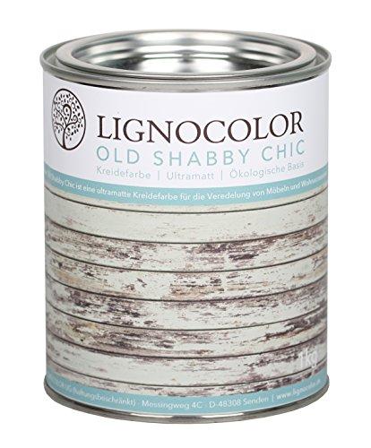 Kreidefarbe Shabby Chic Lack Landhaus Stil Vintage Look 1kg (Weiss)