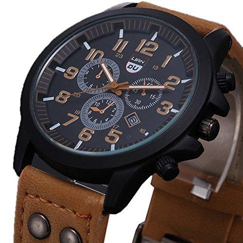 Franterd� Uhren, Unisex M�nner Frauen wasserdichte Armbanduhr elegant Uhr Zeitloses Design Classic Leather r�mischen Ziffern Leder analoge Quarz-Armbanduhr Braun
