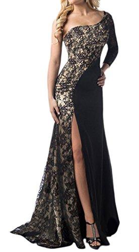 Bigood Schulterfrei Damen Mode Cocktailkleid Hochzeit Party Kleid Abendkleid Maxikleid Schwarz 2XL