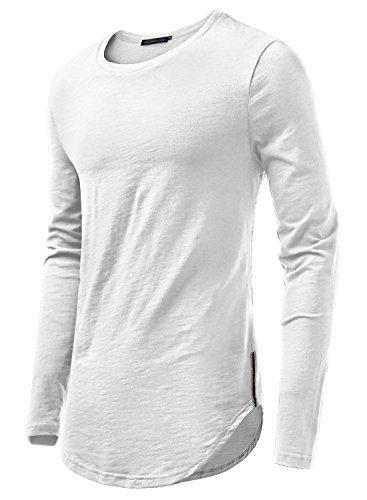 HEMOON Herren O-Neck T-Shirt Shaped Raglan Langarm Slim Milchweiss M