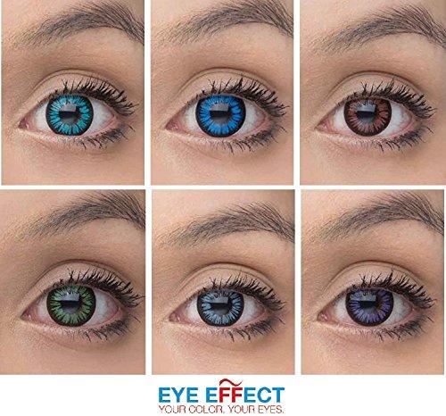 Eye Effect farbige Kontaktlinsen in vielen Farben f�r sch�ne nat�rlich Augen + gratis Kontaktlinsenbeh�lter (Blau Aqua)