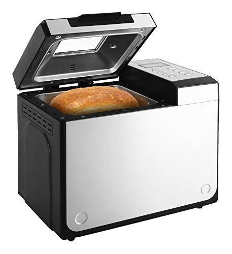 Klarstein Country-Life Brotbackautomat Brotbackmaschine vollautomatischer Edelstahl-Brotautomat f�r 1 kg Brot (12 Backprogramme, Timer, Warmhalte- & Knet-Funktion) schwarz-silber