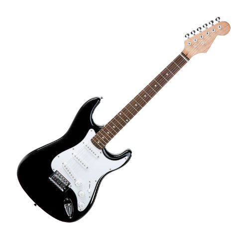Rocktile Sphere Classic Black E-Gitarre (wei�es Schlagbrett, 3x Single Coil Tonabnehmer, 21 B�nde, Palisander Griffbrett, Tremolo-Bridge, inklusive 2,5m Gitarrenkabel, Tremolohebel und Inbusschl�ssel)