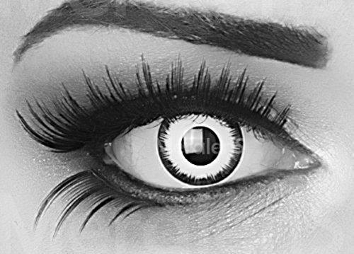 Meralens 1 Paar farbige weisse schwarze Lunatic Vampir Jahres Kontaktlinsen. Weiss mit schwarzem Rand 1 Paar Topqualit�t zu Fasching und Karneval mit gratis Kontaktlinsenbeh�lter ohne St�rke!