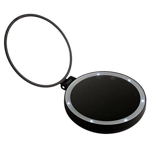 Xcellent Global Tragbarer Reise- Makeup- Spiegel Luxus Klappbar Organizer Doppelseitig 1x/5x Vergr��ernd LED erleuchtet Kosmetik kompakt, Rot HG115