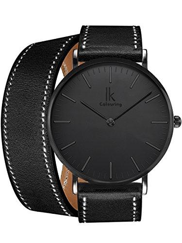 Alienwork IK Quarz Armbanduhr elegant Quarzuhr Uhr modisch Doppel Wrap schwarz Leder 98469CL-01