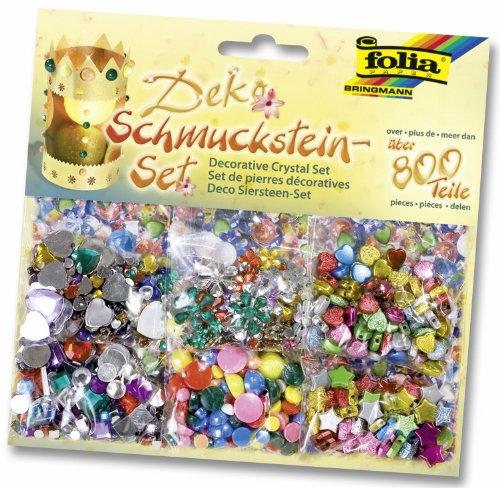 Folia 12419 - Schmucksteine-Set, �ber 800 Teile, Formen, Gr��en und Farben sortiert
