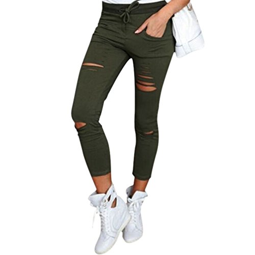 LAEMILIA Frauen Zerrissen Ripped Hose mit hohe Taille Stretch Skinny Bleistifthose Leggings (DE36(Tag M), Gr�n)