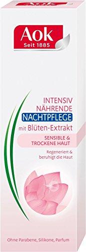 AOK intensiv n�hrende Nachtcreme/ mit Bl�ten-Extrakt/ f�r empfindliche&trockene Haut/ beruhigt die Haut/ 50ml