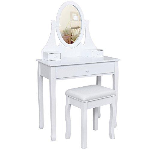 Songmics� Schminktisch Frisierkommode Frisiertisch Kosmetiktisch mit Spiegel inkl. Hocker, wei�, Holz, RDT002