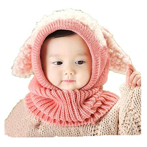 Babybekleidung H�te & M�tzen Longra Niedlich Winter Baby Kinder M�dchen Jungen Warm Woll Haube Kapuze Schal M�tzen H�te (Pink)