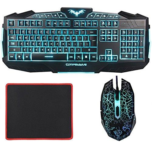 Gaming Tastatur und Maus Set - MFTEK USB Kabel LED 3 Farben (Blau/ Hellblau/ Gr�n) Hinterleuchteten hell Beleuchteten Gaming Tastaturen und Maus Combo F�r Laptop Gamers - (US Tastaturlayout, QWERTY)