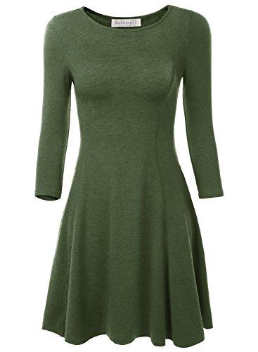 BAISHENGGT Damen Mini Skaterkleid Rundhals 3/4-Arm Fattern Stretch Basic Kleider Gruen S