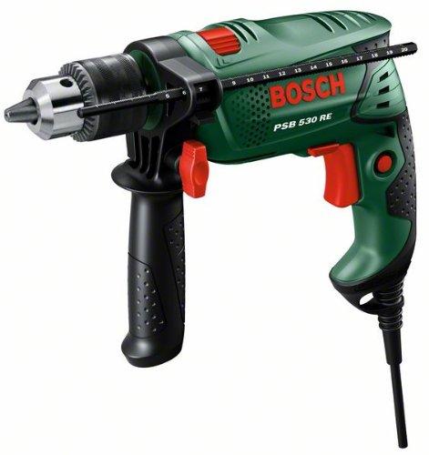Bosch DIY Schlagbohrmaschine PSB 530 RE, Tiefenanschlag, Zusatzhandgriff, Koffer (530 Watt, max. Bohr-�: Holz: 25 mm, Beton: 10 mm, Stahl: 8 mm)