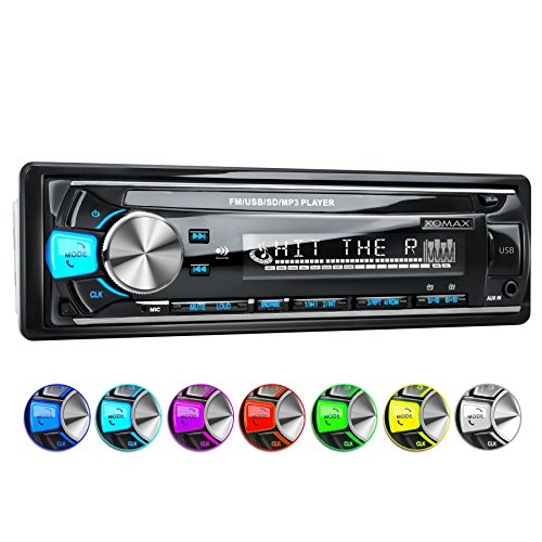 XOMAX XM-RSU252BT Autoradio mit Bluetooth Freisprechfunktion + USB Anschluss (bis 128 GB) & SD Kartenslot (bis 128 GB) f�r MP3 und WMA + AUX-IN + Verk�rzte Einbautiefe + Single DIN (1 DIN) Standard Einbaugr��e + abnehmbares Bedienteil + inkl. Einbaurahmen und Fernbedienung + Beleuchtungsfarbe: blau