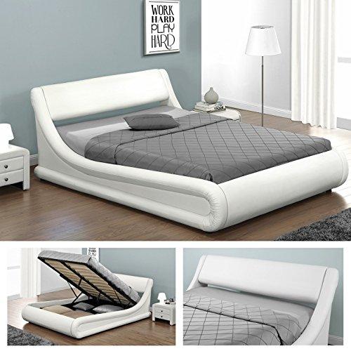 KANSAS Doppelbett Polsterbett mit Gasdruckfeder Bettkasten Bett Lattenrost Kunstleder (140 x 200cm, Weiss)