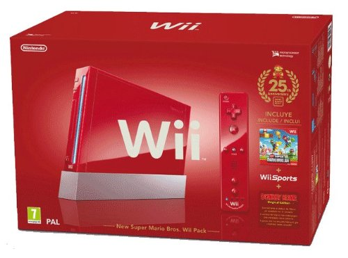 "Nintendo Wii ""Jubil�ums Pak"" - Konsole inkl. Wii Sports, New Super Mario Bros. Wii, Donkey Kong (Original Edition) + Remote Plus Controller, red"