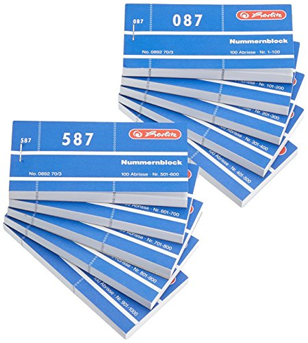 Herlitz Nummernbl�cke 1-1000/892703 105x50 mm sortiert Inh.1x10St�ck