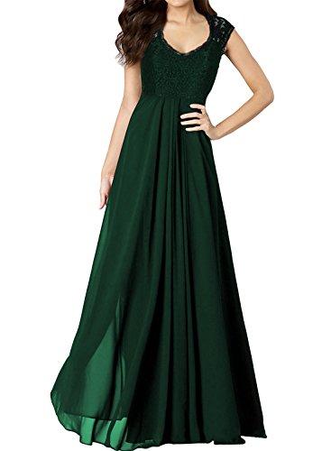 Miusol Damen Aermellos V-Ausschnitt Spitzenkleid Brautjungfer Cocktailkleid Chiffon Faltenrock Langes Kleid Gruen Groesse 42/L
